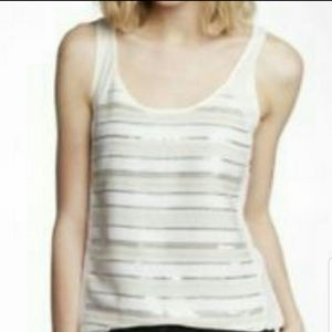 EXPRESS nude sequined tank top
